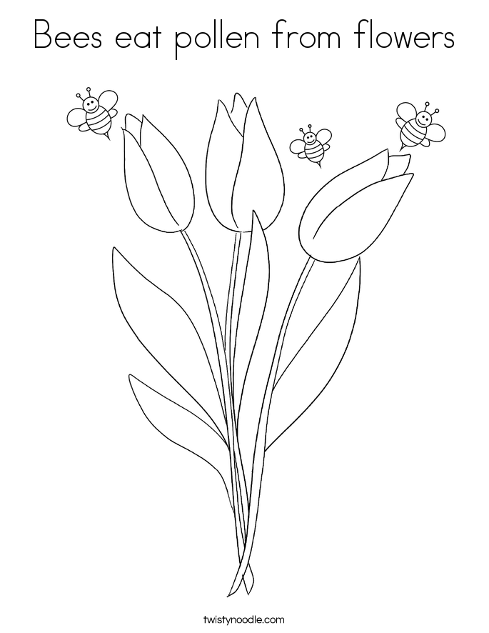 Bees eat pollen from flowers Coloring Page