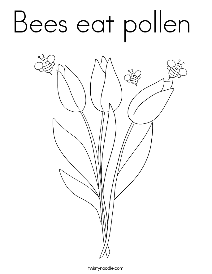 Bees eat pollen  Coloring Page