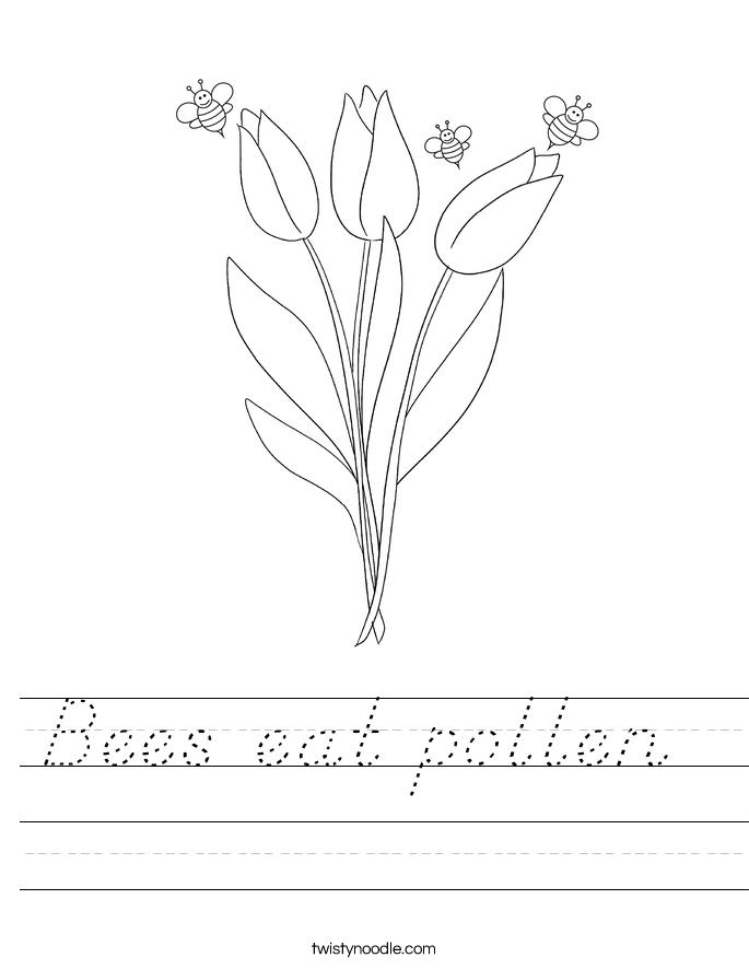 Bees eat pollen  Worksheet