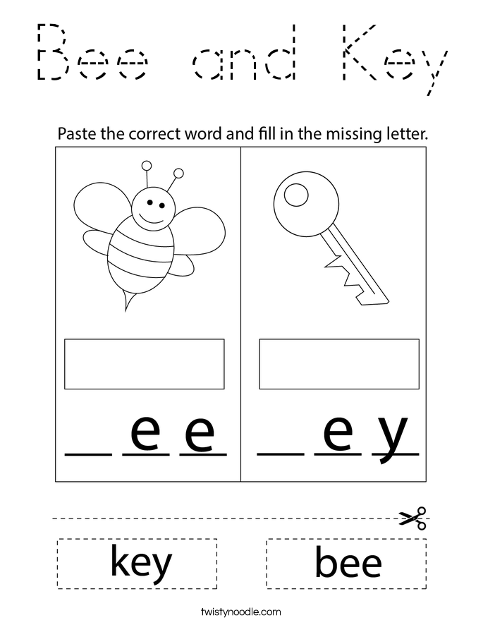Bee and Key Coloring Page