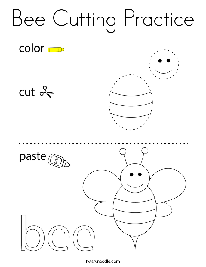 Bee Cutting Practice Coloring Page