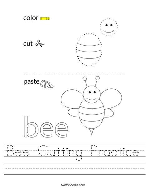 Bee Cutting Practice Worksheet