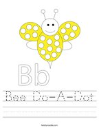 Bee Do-A-Dot Handwriting Sheet