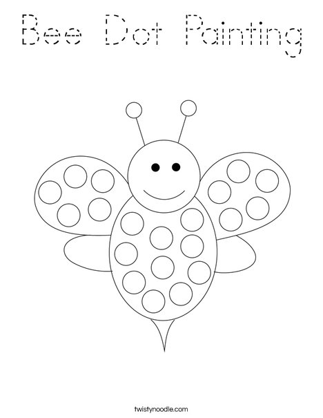 Bee Dot Painting Coloring Page