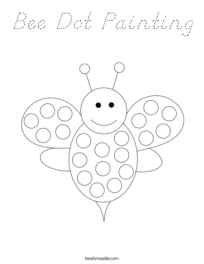 bee dot painting coloring page  d'nealian  twisty noodle