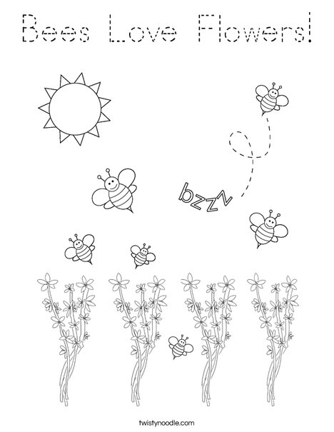 Bee kissing a flower Coloring Page