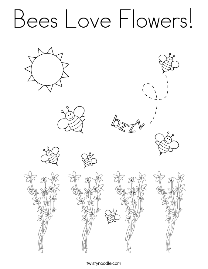 Bees Love Flowers Coloring Page