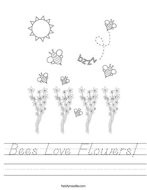 Bee kissing a flower Worksheet