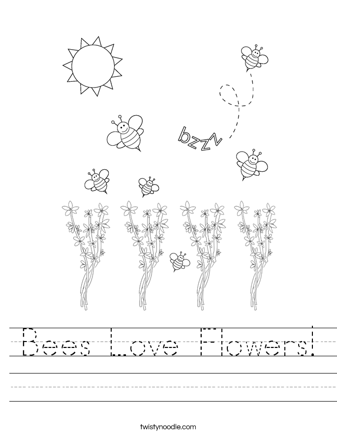 Bees Love Flowers Worksheet Twisty Noodle – Bee Worksheets