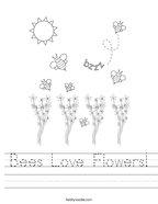 Bees Love Flowers Handwriting Sheet