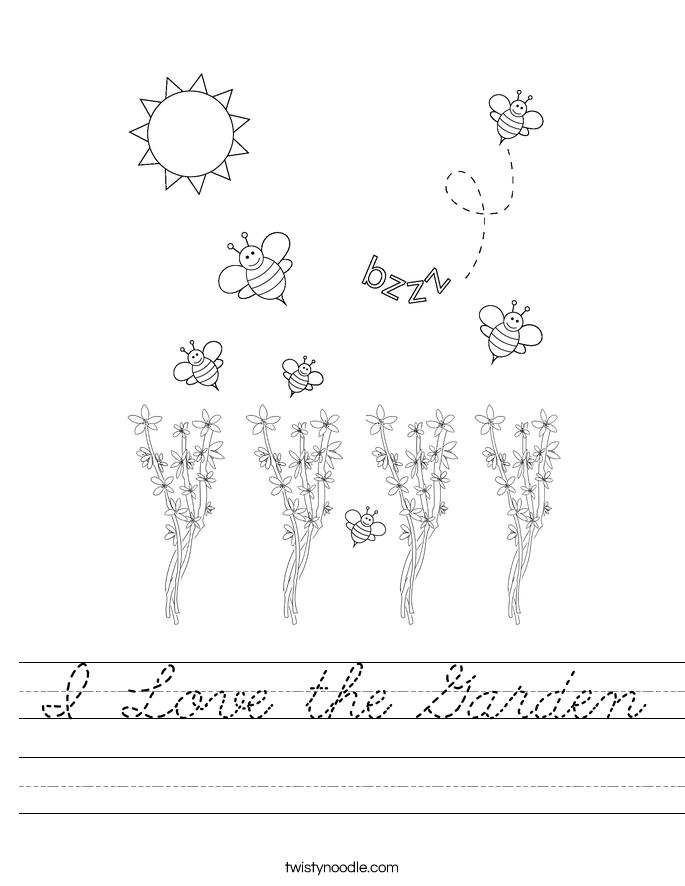 I Love the Garden Worksheet