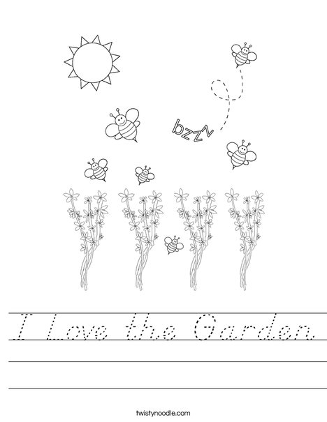 Bee kissing a flower Worksheet