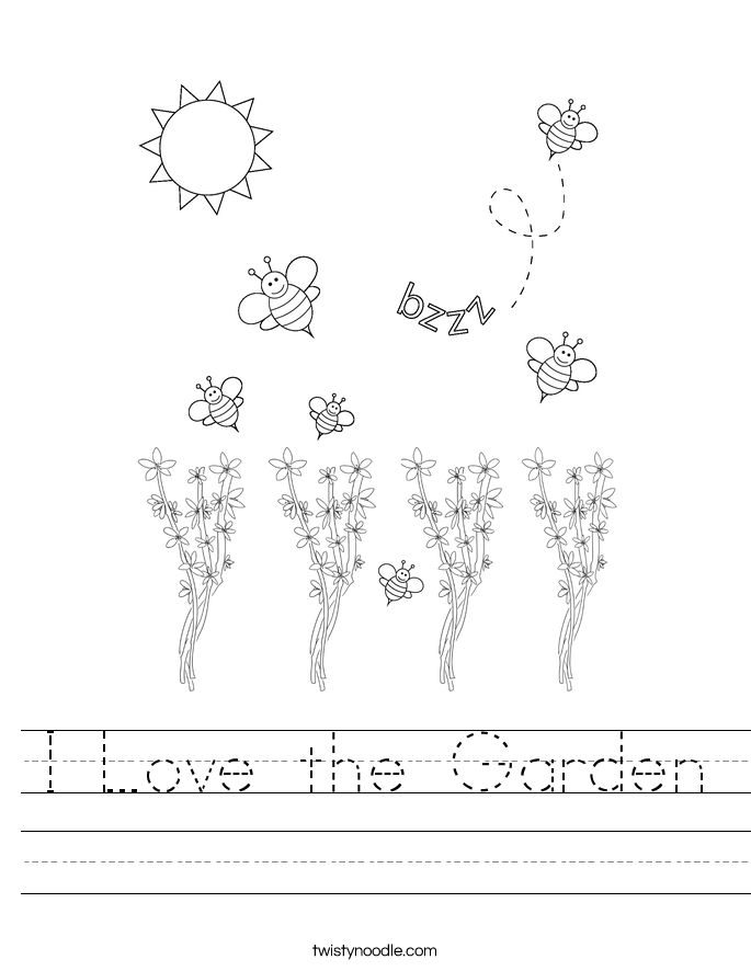 I Love the Garden Worksheet