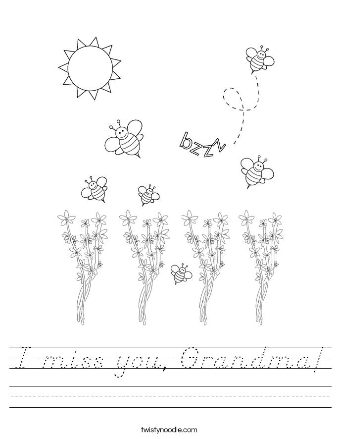 I miss you, Grandma! Worksheet