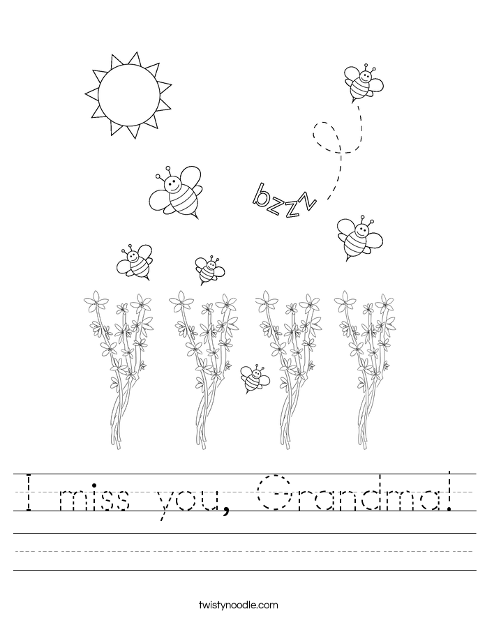 I miss you, Grandma! Worksheet