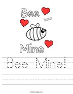 Bee Mine Handwriting Sheet