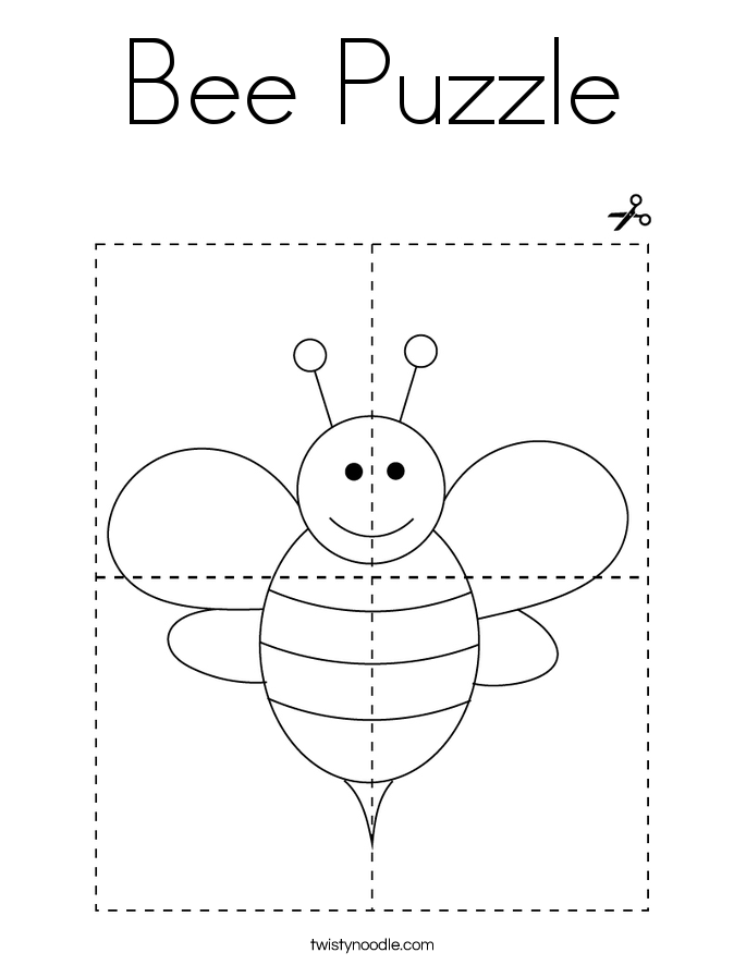Bee Puzzle Coloring Page