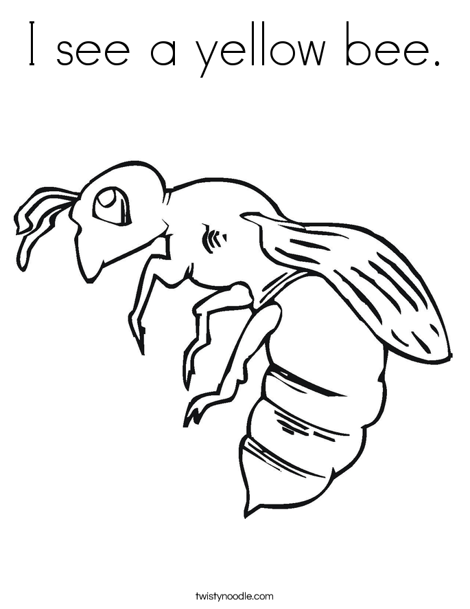I see a yellow bee. Coloring Page