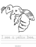 I see a yellow bee. Worksheet