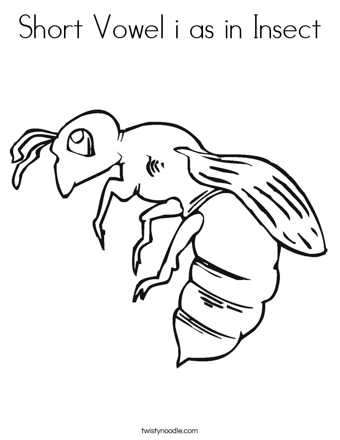 Short Vowel i as in Insect Coloring Page