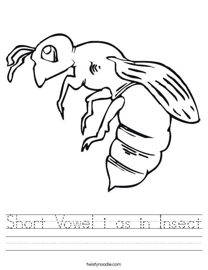 Short Vowel i as in Insect Worksheet