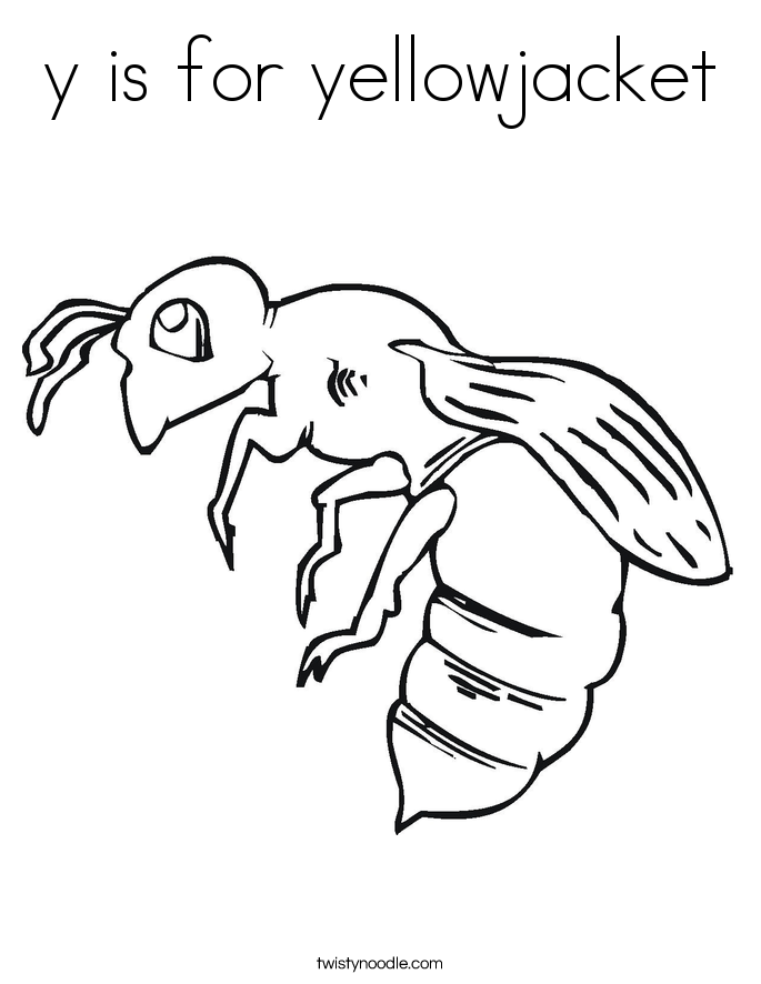 y is for yellowjacket Coloring Page