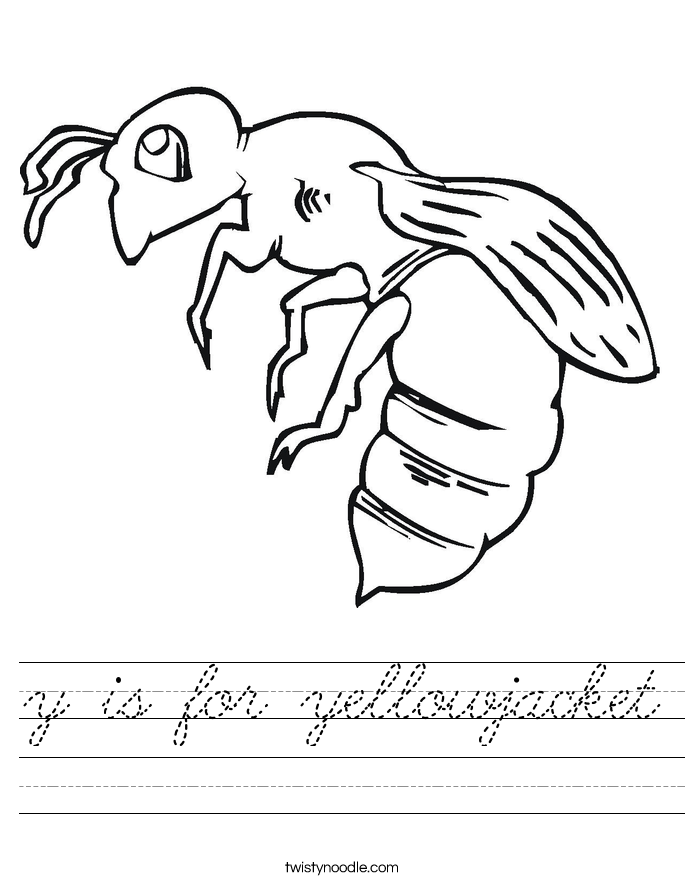 is for yellowjacket Worksheet - Cursive - Twisty Noodle