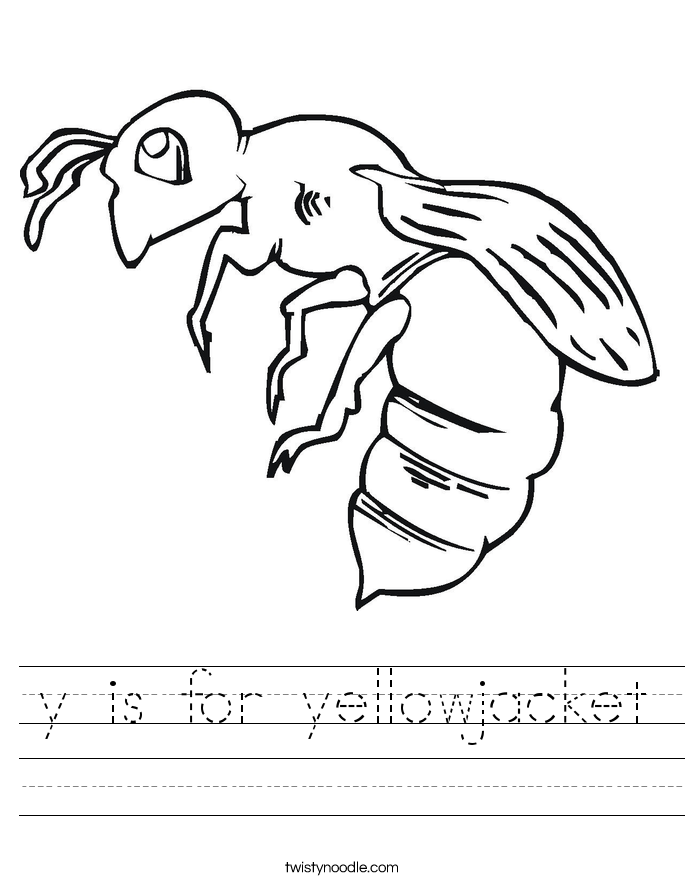 y is for yellowjacket Worksheet