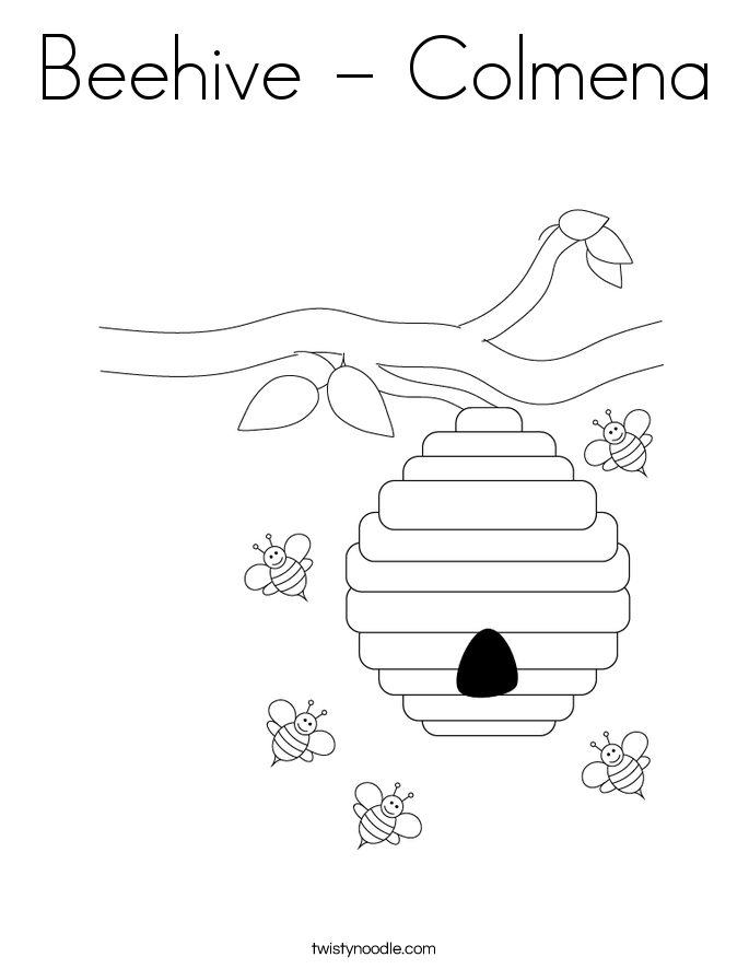 Beehive - Colmena Coloring Page