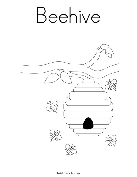 Beehive with Flowers Coloring Page