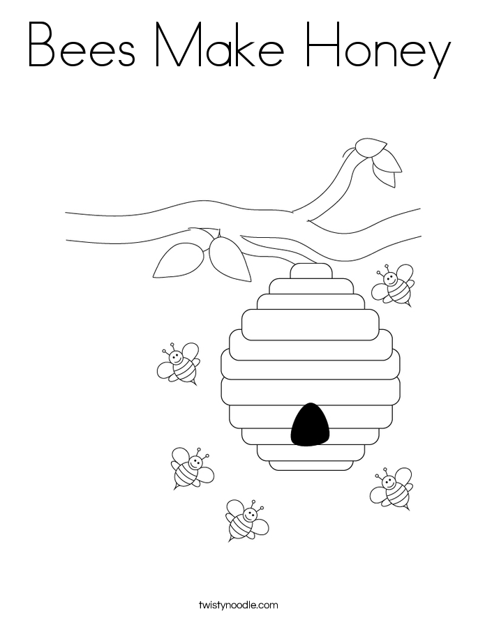 Bees Make Honey Coloring Page - Twisty Noodle