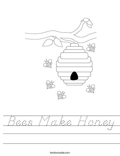 Beehive with Flowers Worksheet