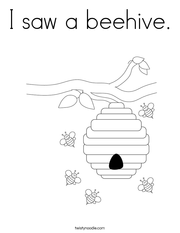 I saw a beehive. Coloring Page