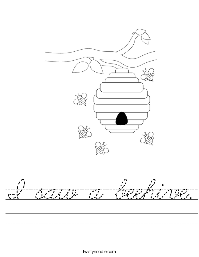 I saw a beehive. Worksheet