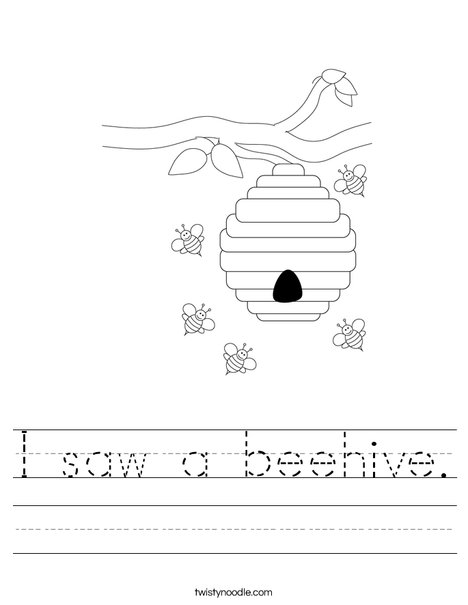 Beehive with Flowers Worksheet