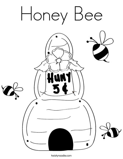 Beehive with buzzing bees Coloring Page