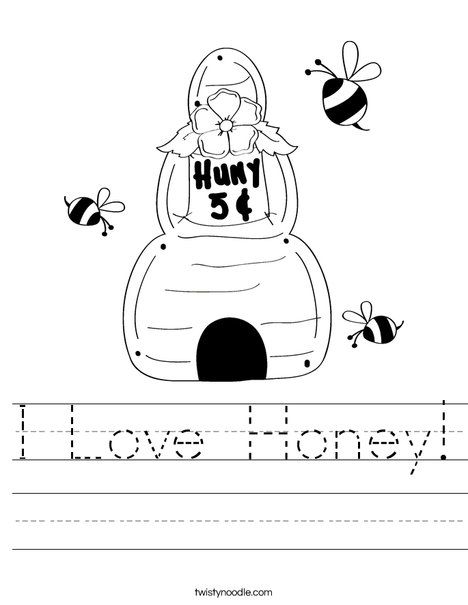 Beehive with buzzing bees Worksheet