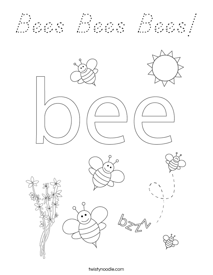 Bees Bees Bees! Coloring Page