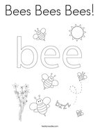 Bees Bees Bees Coloring Page