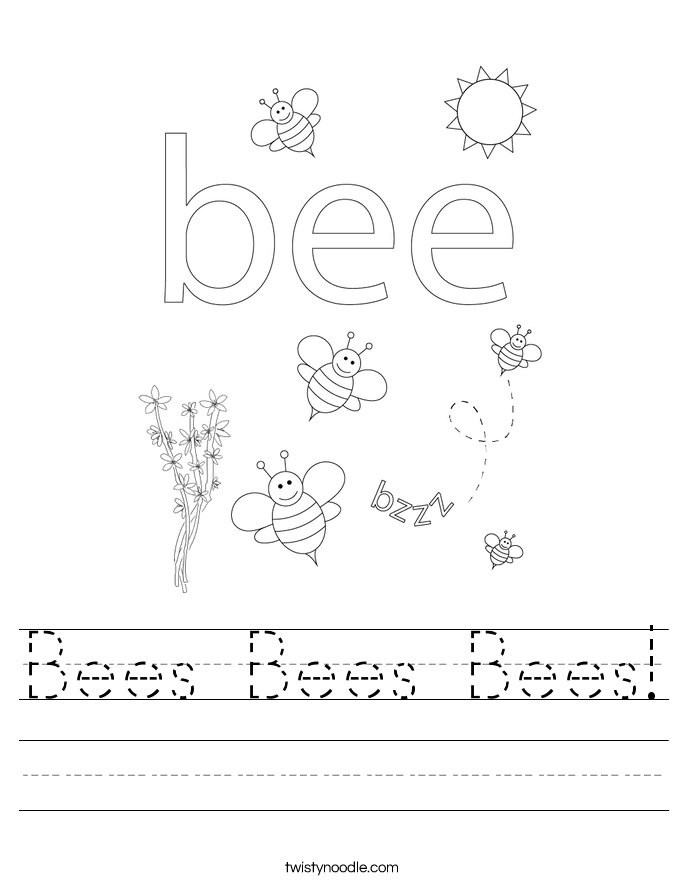 Bees Bees Bees Worksheet - Twisty Noodle