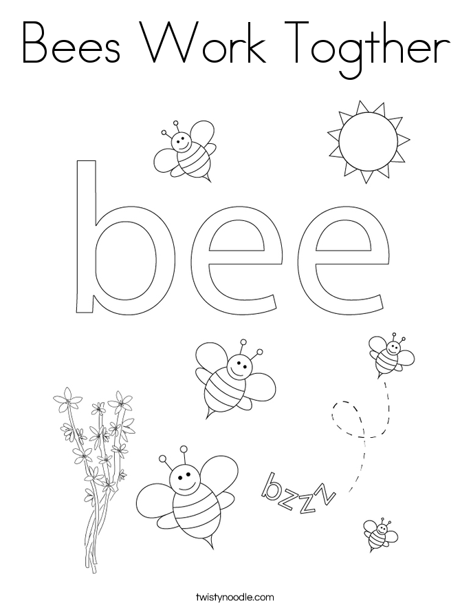 Bees Work Togther Coloring Page