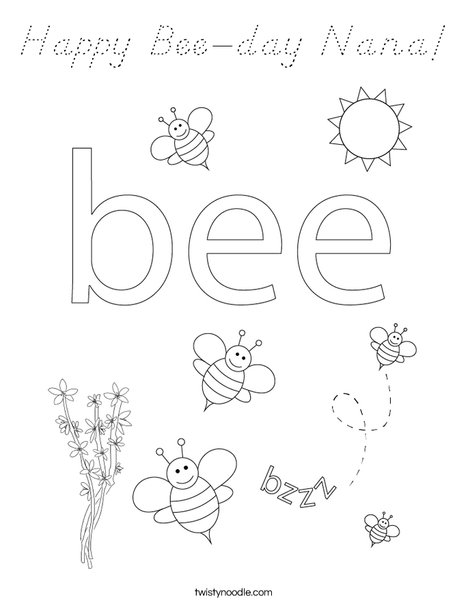 Beehive with honey bees Coloring Page