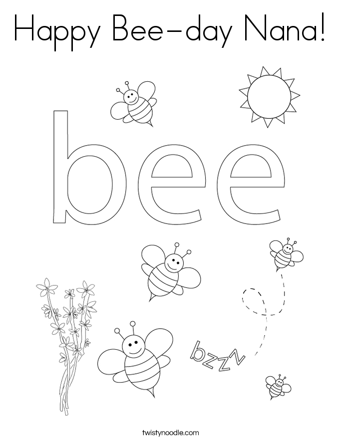 Happy Bee-day Nana! Coloring Page