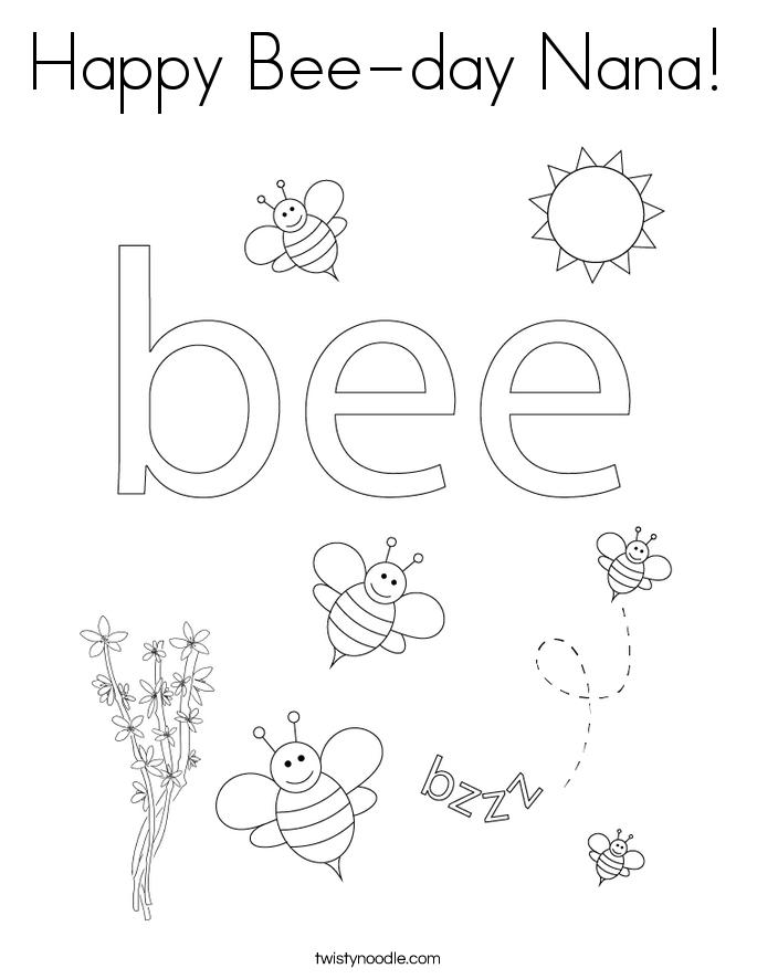 Happy Bee-day Nana! Coloring Page