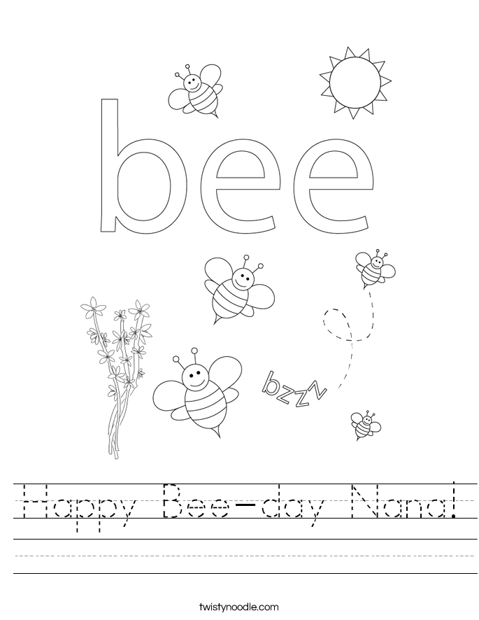 Happy Bee-day Nana! Worksheet