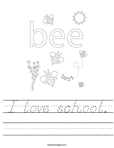 Beehive with honey bees Worksheet