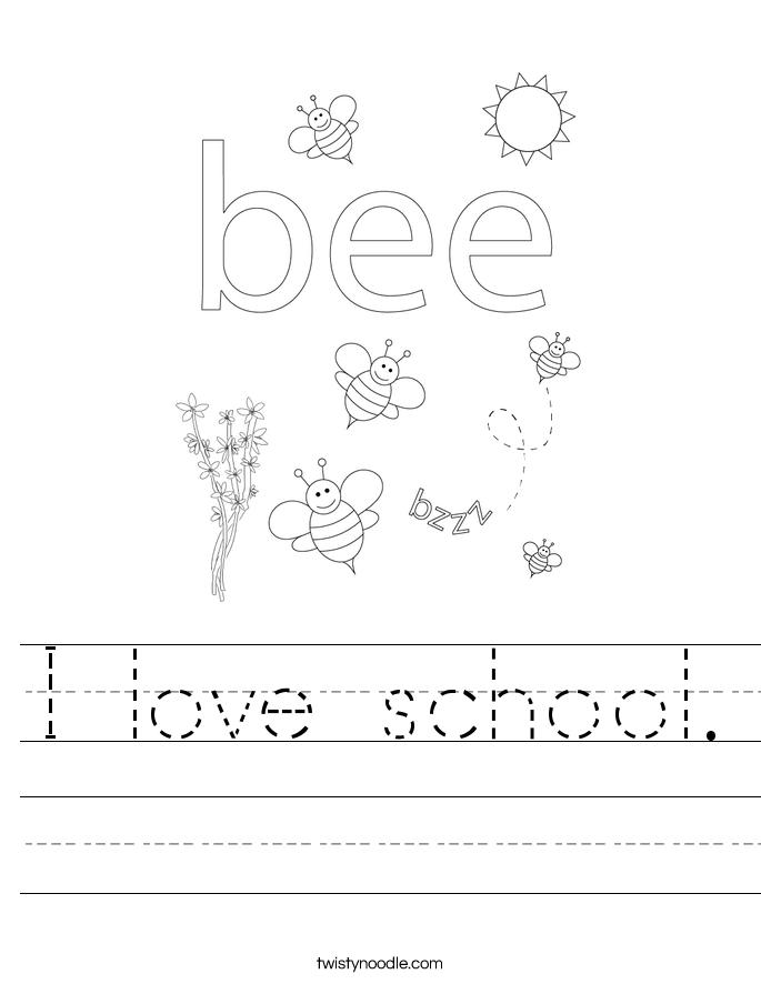 I love school. Worksheet