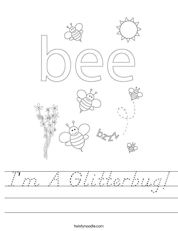 I'm A Glitterbug! Worksheet
