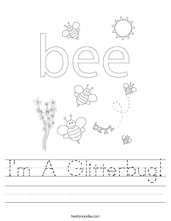 I'm A Glitterbug! Worksheet