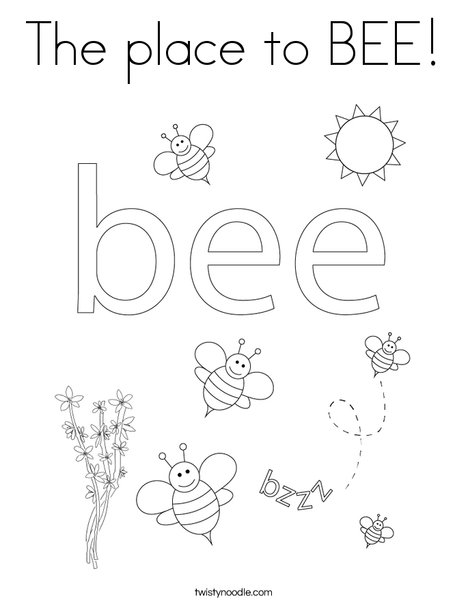 The Place To Bee Coloring Page Twisty Noodle